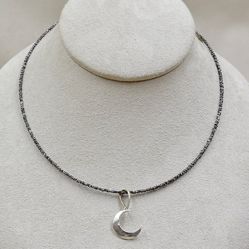 Fine Silver Thai Oxidized Beads w/ 12mm FW White Pearl Necklace by Reba Engel