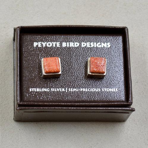 3-D Large Square Sponge Coral Post Earrings by Peyote Bird Designs