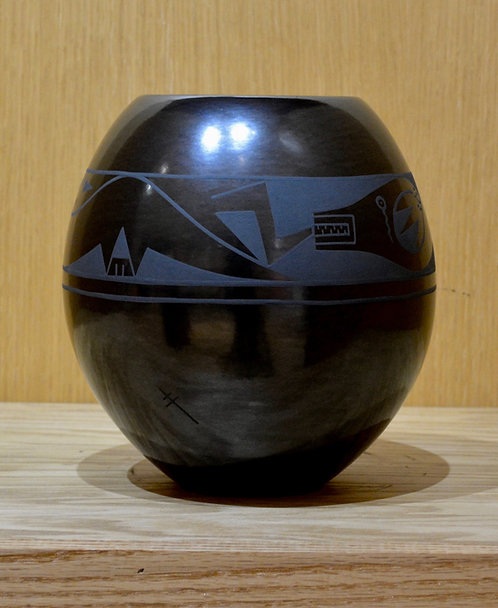 Black on Black Water Serpent Pot by Erik Fender