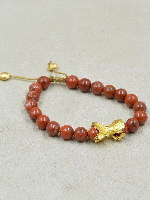 Meditation Bracelet w/ Red Jasper, Vermeil 22k Gold, Amulet by True West
