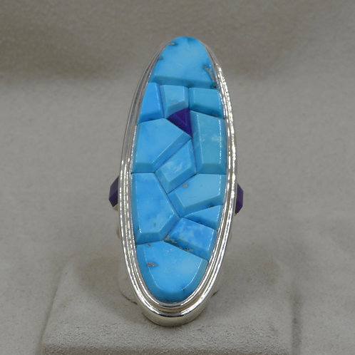 Large Oval Kingman Turquoise w/ Sugilite 9x Ring by Tim Busch