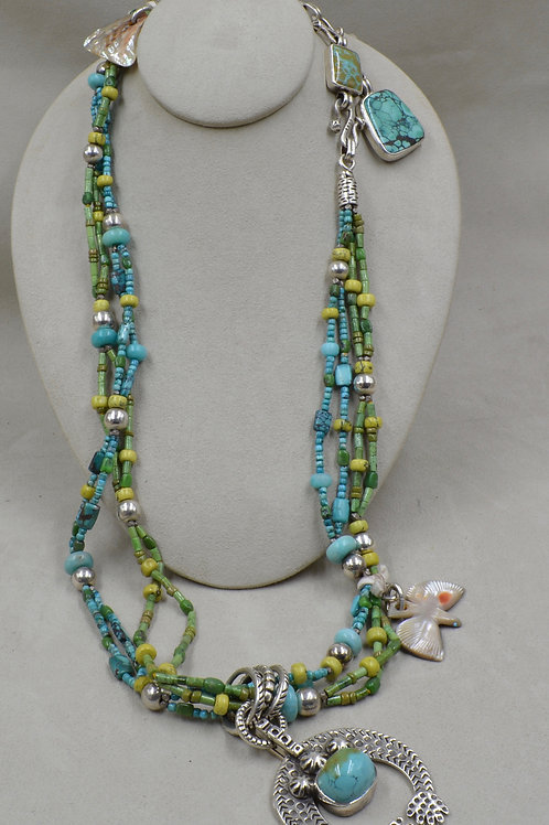 4-Strand Green & Blue Turquoise, S. Silver Naja Necklace by Melanie DeLuca