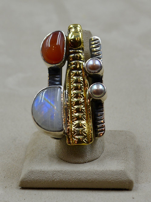 Brass, Pearls, Silver, Chalcedony, Moonstone 7.5x/8x Ring by Melanie DeLuca