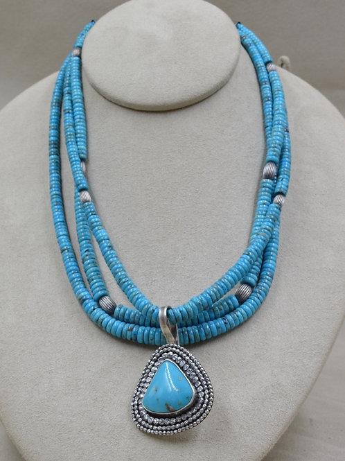 3-Strand Natural Nacozari Turquoise, w/ SS, Kingman TQ by Michele McMillan