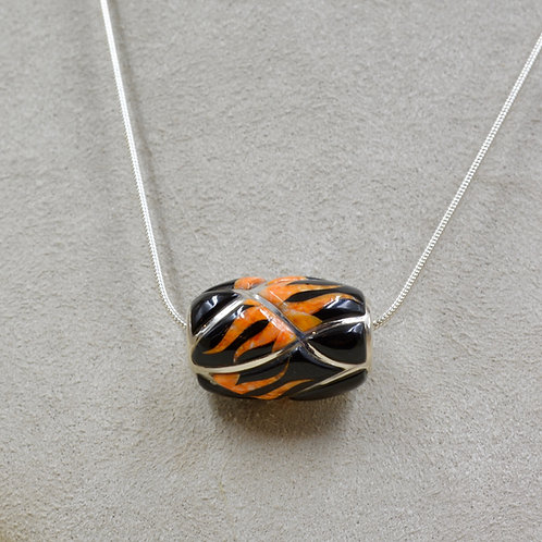 Flame Bead Pendant w/ S. Silver w/ Black Jade, Opal, Spiny Oyster by GL Miller