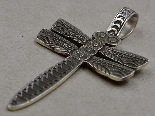 Tufa Dragonfly Pendant w/ Stamped Bale by Aaron John