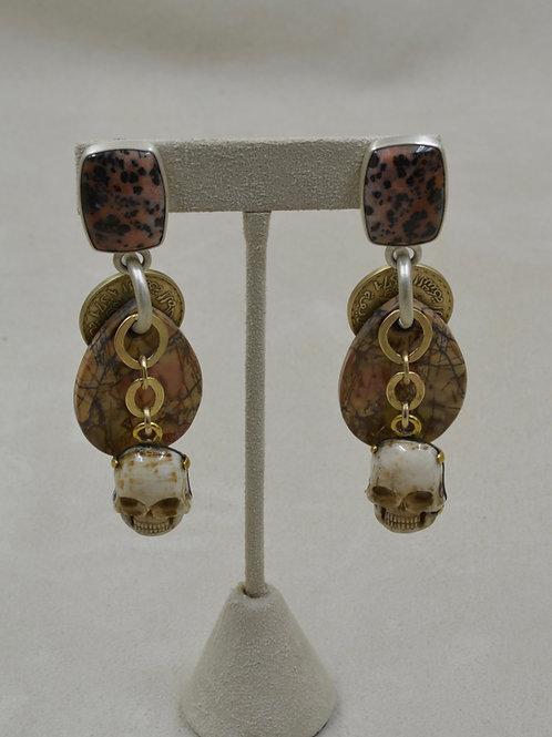 Dalm Jasper, Bone Skulls, Brass Earrings by Melanie DeLuca
