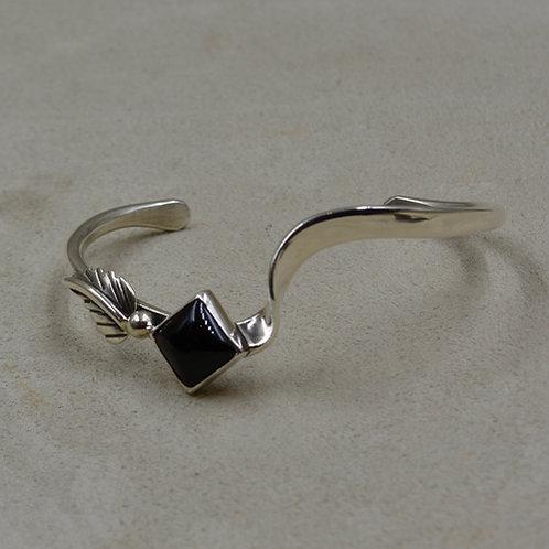 Assymetrical Onyx Leaf & Sterling Silver Cuff by Cheryl Arviso