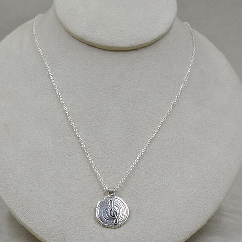 Music Note Medallion on Chain by Michele McMillan