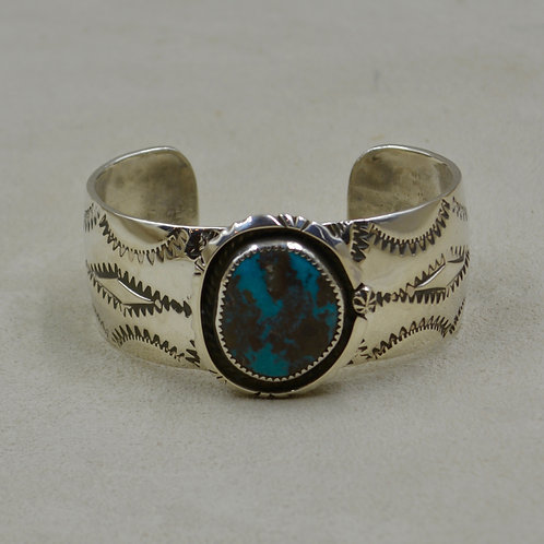 Bisbee Turquoise, Shadow, Rope Bez Sterling Silver Cuff by James Saunders
