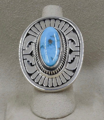 Sterling Silver Free Form Ring with Morenci Turquoise by Leonard Nez