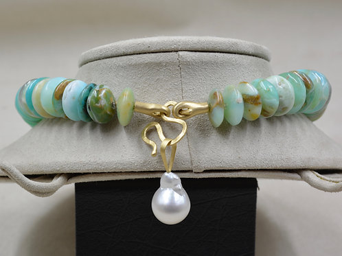 Baroque South Sea Pearl Pendant on 18k Gold Forged Bale by Reba Engel