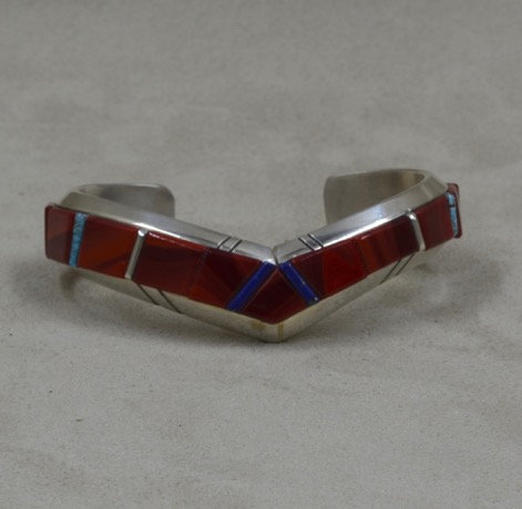 Sterling Silver, Rosarita, Natural Turquoise and Lapis Cuff by Dukepoo