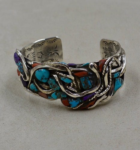 Angel Skin Coral & Turquoise Inlay Landscape Cuff by Robert Mac Eustace Jones