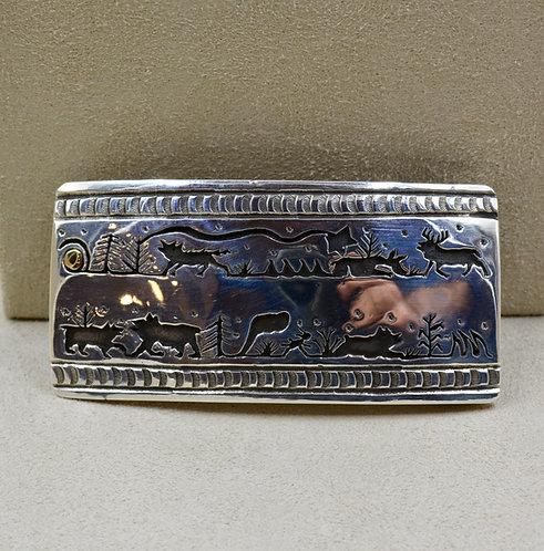 Sterling Silver & 14k Gold Belt Buckles by Ed Wayne Aragon