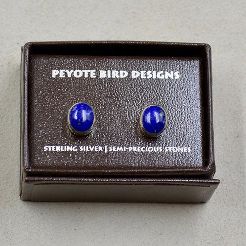 Medium Oval Lapis Post Earrings by Peyote Bird Designs