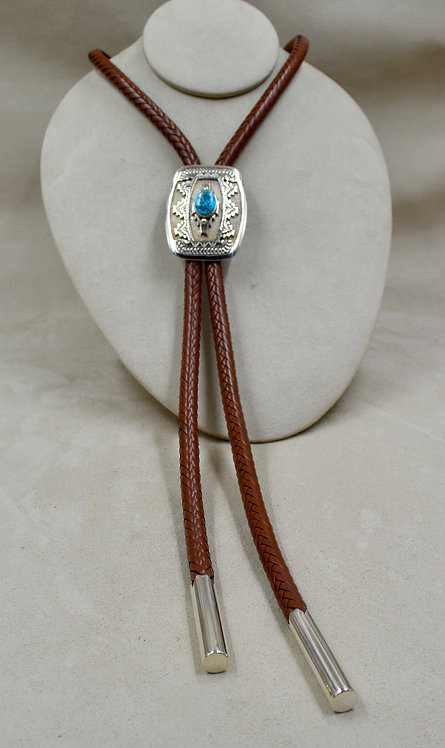 Natural Kingman Turquoise Bolo w/ Hi-Grade Hand Rolled Tips by Jefferson Brown