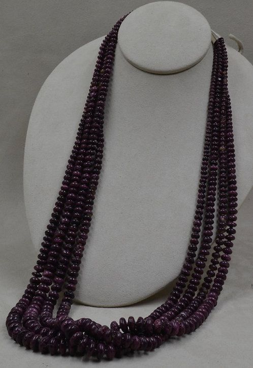 4 Strand Purpley Spiney, Oyster w/ Olive Shell Heishi by Kenneth Aguilar