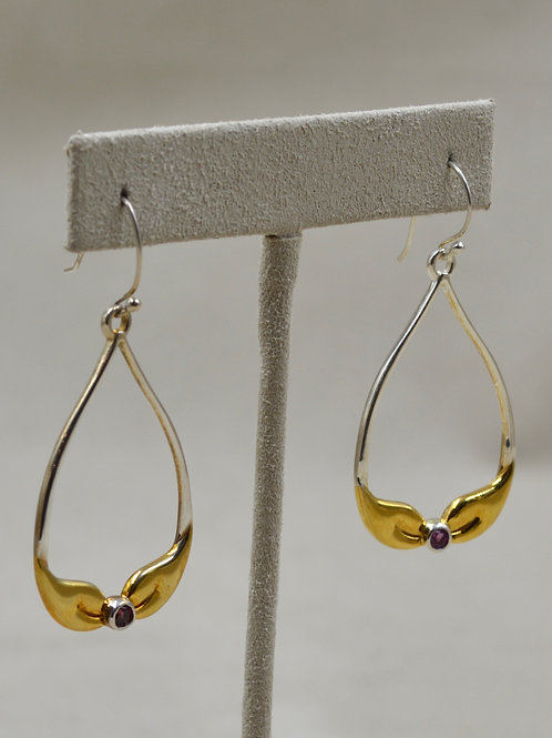 Sterling Silver 2 Gold Leaves Earrings, 18k Plate, Rhodolite by Roulette 18