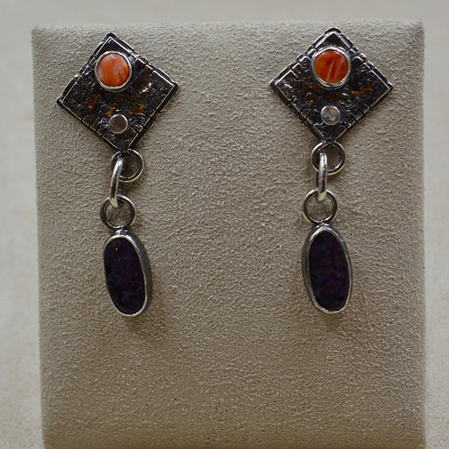 Keum Boo 18k Gold, Silver, Spiny Oyster, Charoite Earrings by Cheryl Arviso