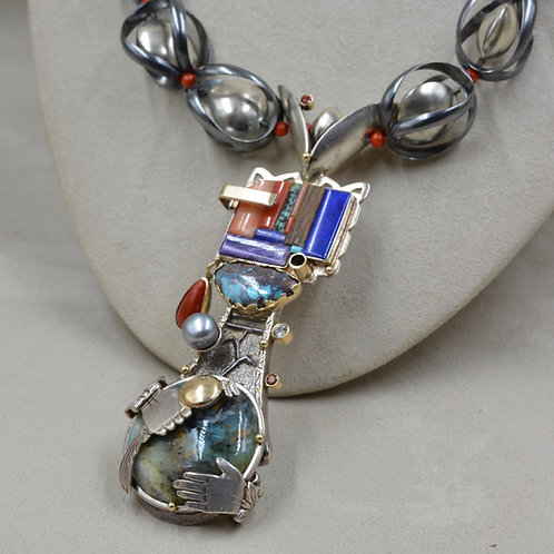 All Handmade S. Silver, Gold, Sapphire, Nat. Turquoise, Necklace by Fritz Casuse