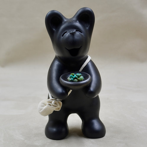 Medium Black Bear with Turquoise Bowl by Randy Chitto