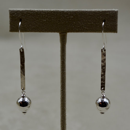 Sterling Silver Long Hammered Earrings w/ SS Bead by Sippecan Designs