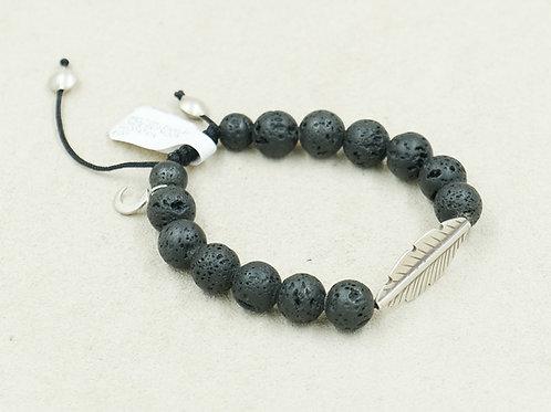 SS Leaf, Lava Rock, & Crescent Moon Meditation Bracelet by Reba Engel