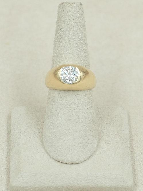 18k Gold Gypsy Style w/ Moissanite 1.35 Carat 7x Ring by Reba Engel