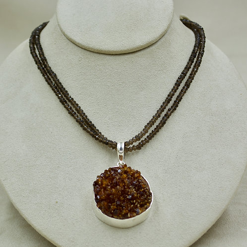 Double Smoky Quartz & Sterling Silver Faceted Necklace by Sanchi & Filia