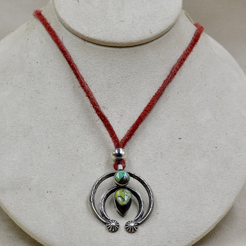 Sterling Silver Necklace w/ 2 Stoned Turquoise Naja by Red Rabbit Trading Co.
