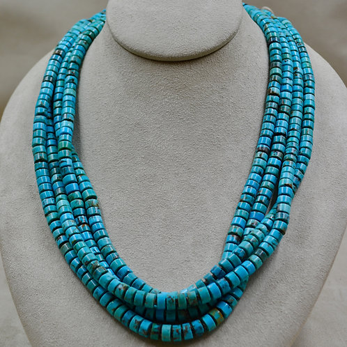 4 Strand Thick Kingman Turquoise & Heishi Necklace by Kenneth Aguilar