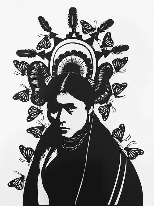 "Zuni Butterfly Maiden, 29"" x 23"", Framed Papercut by Valerie Rangel"