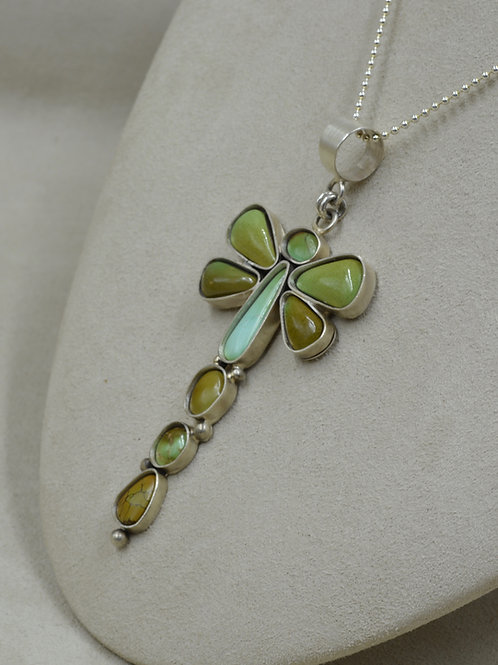 Dragonfly Pendant w/ Natural Kings Manassa Turquoise by Jacqueline Gala