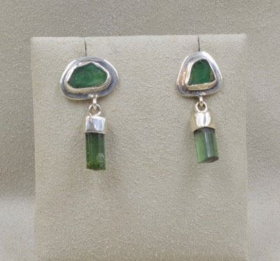 Sterling Silver Tourmaline and Emerald Earrings by Richard Lindsay