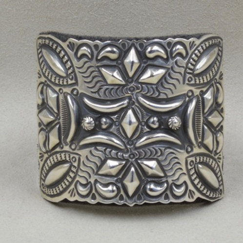 Sterling Silver and Leather D Becenti Katoh Cuff by Shoofly 505