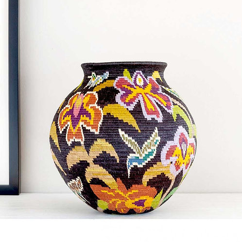 "Midnight Floral Wounaan Basket by Mitsuli Mejia - 8""W x 8""H"