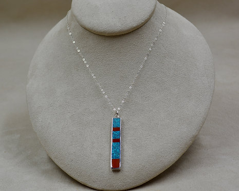 Blue Turquoise, Matrix, Coral, Wide S. Silver Dancing Stick Necklace by Lente