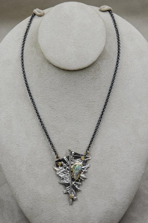 Boulder Opal, Diamond 22k, Necklace by Dave M Romero