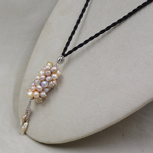 Cultured Freshwater 5-13mm/6-14mm Pearls on Leather Necklace by US Pearl Co.