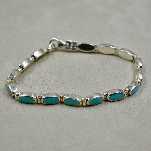S Silver & Stab Blue Turquoise w/ Ovals Link Tennis Bracelet by Peyote Bird
