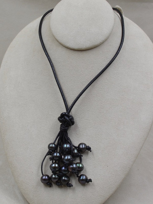 Cultured Freshwater Peacock Pearls on Black Leather by US Pearl