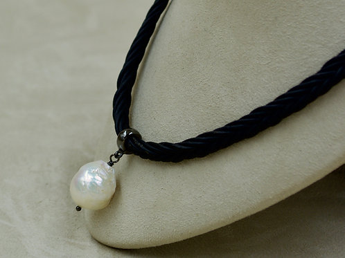 Cultured Freshwater White Fireball Pearl on Black Leather Choker by US Pearls