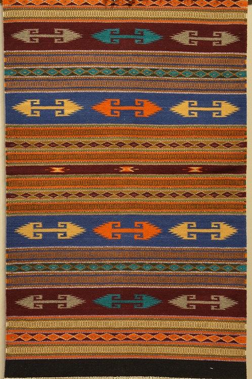 "Zapotec Paneled Geometric Fino Rug - 46"" X 28"""