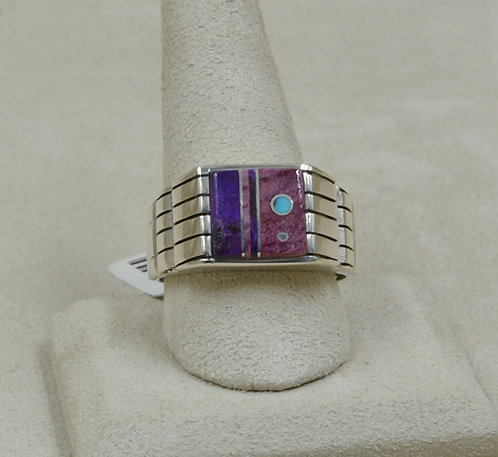 Square Inlay Purple Spiny Oyster & S. Silver 13.25x Ring by Veronica Benally