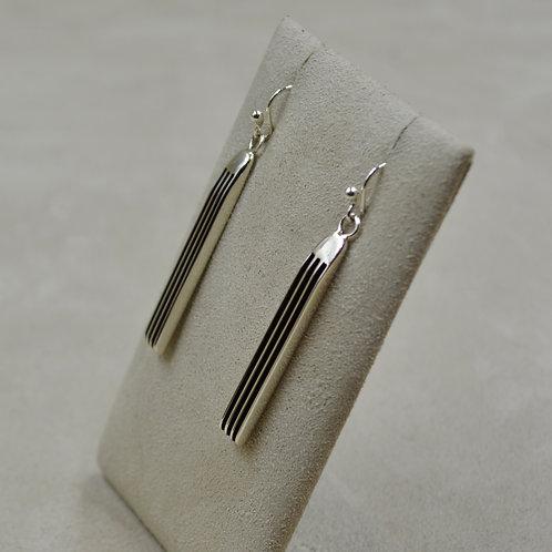 Long Oxidized Sterling Silver 4 Row Drop Earrings by Frances Jones