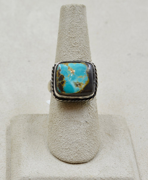 S Silver Ingot Sq. w/ Stab Hubei Turquoise 7x Ring by Red Rabbit Turquoise Co.