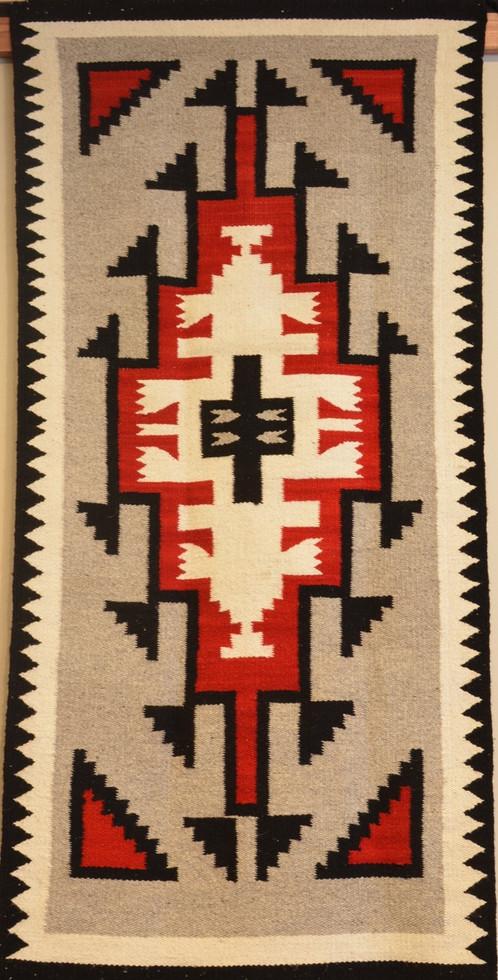 Squash Blossom Chili 1940s 60s Era Vintage Navajo Rug 60 X 29