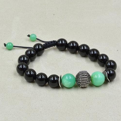 Meditation Bracelet w/ Black Onyx, Chryosoprase, Thai Fine Silver by True West