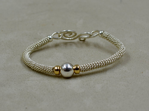 S. Silver & 14k Gold Filled Rondelles, Woven Bracelet by Sippican Designs